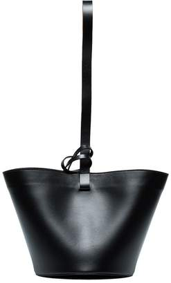 Building Block Black leather bucket bag