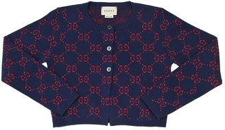 Gucci Cropped Logo Jacquard Knit Cardigan