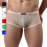 Sozixi Men's Sheer Jacquard Hot Boxer Underwear Trunks