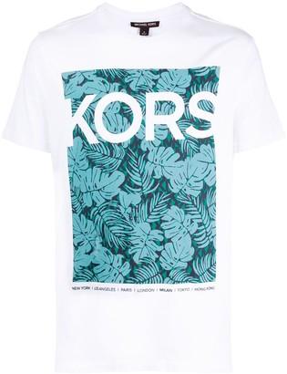 Michael Kors tropical logo print T-shirt
