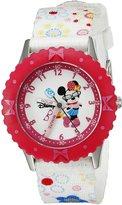 Disney Kids' W000360 Minnie Mouse Stainless Steel Time Teacher Pink Bezel Printed Strap Watch