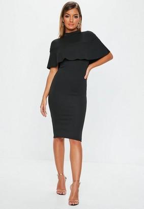 Missguided Black Frill Overlay Bodycon Midi Dress