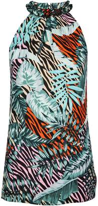 Dorothy Perkins Womens **Tall Multi Colour Zebra Print Halter Neck Top, Multi Colour