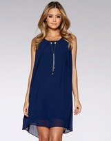 Quiz Chiffon Sleeveless Tunic Dress With Necklace