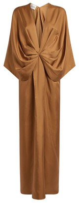 Mark Kenly Domino Tan Silk Darja Dress