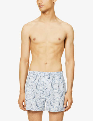 Hanro Floral print linen and cotton-blend boxers