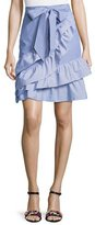 Parker Lambert Bow-Tie Striped Poplin Skirt, Blue-White