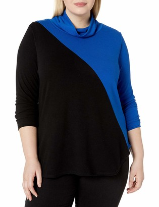 Karen Kane Women's Plus Size Contrast Turtleneck Sweater