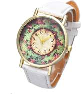 ABC Women's Watch, Women's Fashion Pastorale Floral Leather Band Watch Analog Quartz Watch Dial Wrist Watch