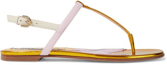 Emilio Pucci Color-block Smooth And Mirrored-leather Sandals