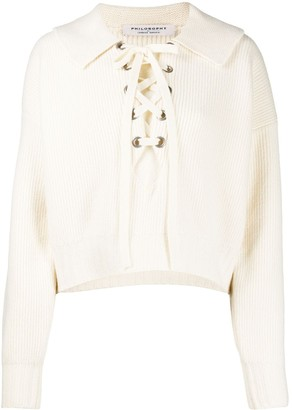 Philosophy di Lorenzo Serafini Lace-Up Ribbed-Knit Top