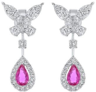 Diana M Fine Jewelry 14K 7.42 Ct. Tw. Diamond & Sapphire Earrings
