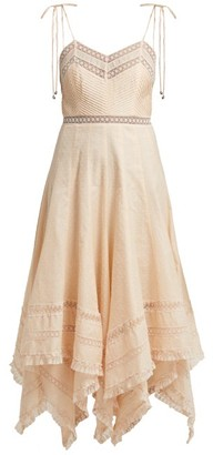 Zimmermann Bowie Lace-trimmed Fil-coupe Cotton Midi Dress - Womens - Nude