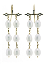 Cathy Waterman Medieval Pearl Flag Earrings