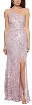 Xscape Evenings One-Shoulder Sequin Gown