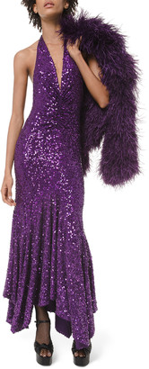 Michael Kors Sequined Halter-Neck Handkerchief Dress