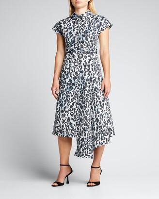 Huishan Zhang Leopard-Print Asymmetric Midi Shirtdress