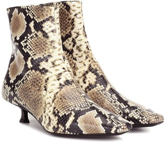 BY FAR Exclusive to Mytheresa Laura snake-effect leather ankle boots