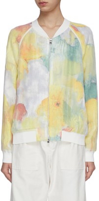 3.1 Phillip Lim Abstract floral print fil coupe zip-up bomber jacket