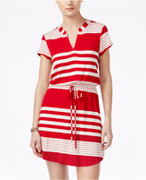 As U Wish Juniors' Striped Drawstring T-Shirt Dress