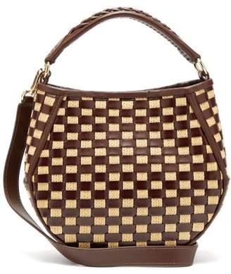 Wandler Corsa Mini Woven Raffia And Leather Tote Bag - Womens - Brown Multi