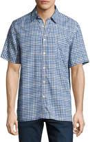 Neiman Marcus Grid Check Silk-Blend Short-Sleeve Shirt, Blue