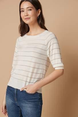 Next Womens Metallic Stripe Textured Bobble Jumper - Cream