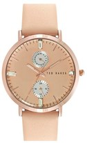 Ted Baker 'Dress Sport' Multifunction Leather Strap Watch, 38mm