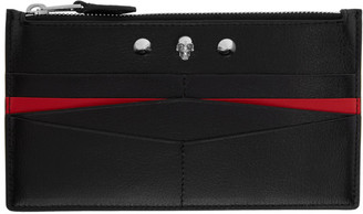 Alexander McQueen Black and Red Flat Zip Wallet