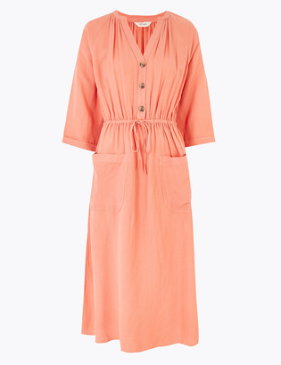 Marks and Spencer Linen Blend Midaxi Waisted Dress