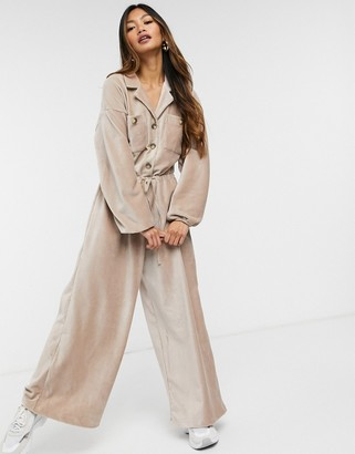 ASOS DESIGN slouchy button front cord jumpsuit in tan