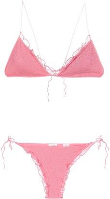 Oseree Glitter Embellished Ruffle Trim Bikini