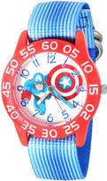 Marvel Boy's 'Captain America' Quartz Plastic and Nylon Automatic Watch, Color: (Model: W003218)