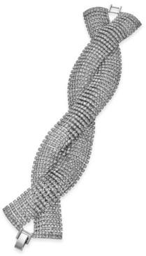 INC International Concepts Inc Silver-Tone Crystal Twist Flex Bracelet, Created for Macy's