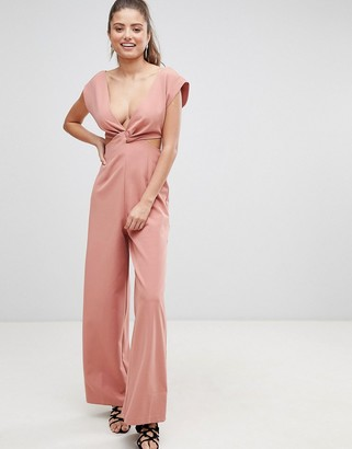 ASOS DESIGN knot front jumpsuit with cut out detail and wide leg