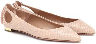 Aquazzura Forever Marilyn snake-effect leather ballet flats