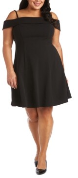 Morgan & Company Trendy Plus Size Off-The-Shoulder Fit & Flare Dress