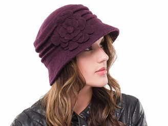 The Hat Outlet Ladies Soft Wool Bucket Elegant Floral Cloche Hat Purple
