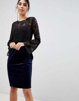 Paper Dolls Long Sleeve Lace Pencil Dress-Black