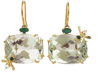 Over The Top Green Quartz Bee Earrings - Yellow Gold