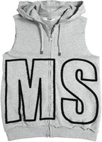 MSGM Logo Patch Hooded Cotton Sweatshirt Vest