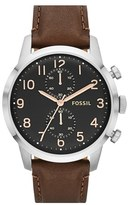 Fossil 'Townsman' Round Leather Strap Watch, 44Mm