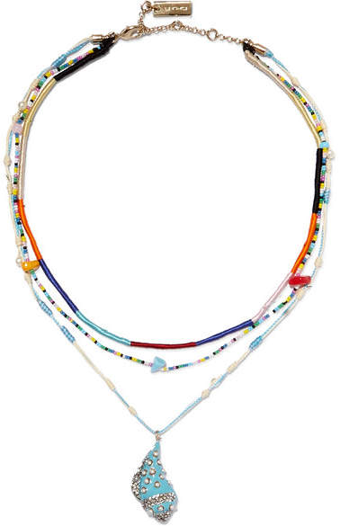 Etro Layered Silk And Multi-stone Necklace - Blue