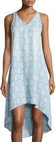 Neiman Marcus Geometric-Print Sleeveless High-Low Dress, Blue Patron