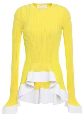 Esteban Cortazar Ribbed-knit Peplum Top