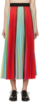 Mary Katrantzou Multicolored Striped Pleated Skirt