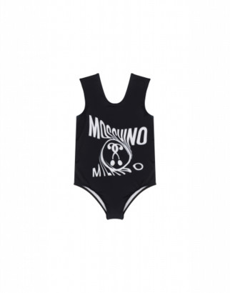 Moschino Double Question Mark Fleece One-piece Swimsuit Woman Black Size 4a