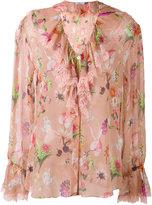 Blumarine floral ruffle neck blouse - women - Silk/Polyamide - 42
