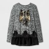 Miss Chievous Girls' Long Sleeve Top w/ Golden Owl & Black Mesh - Black