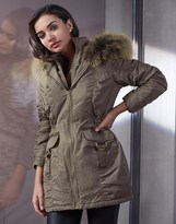Lipsy Double Zip Front Ruched Parka
